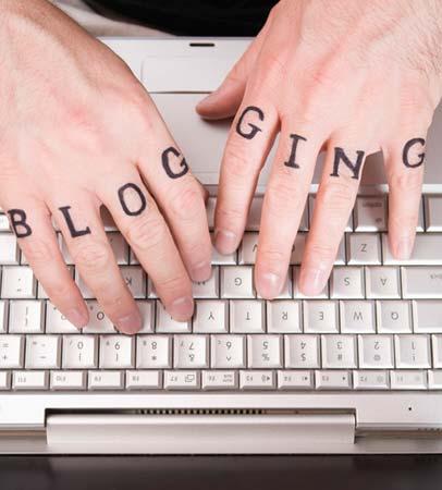 hands typing blog