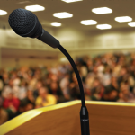 podium with microphone facing audience